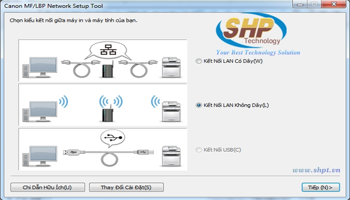 hướng dẫn cài in qua wifi cho máy in Canon LBP151DW